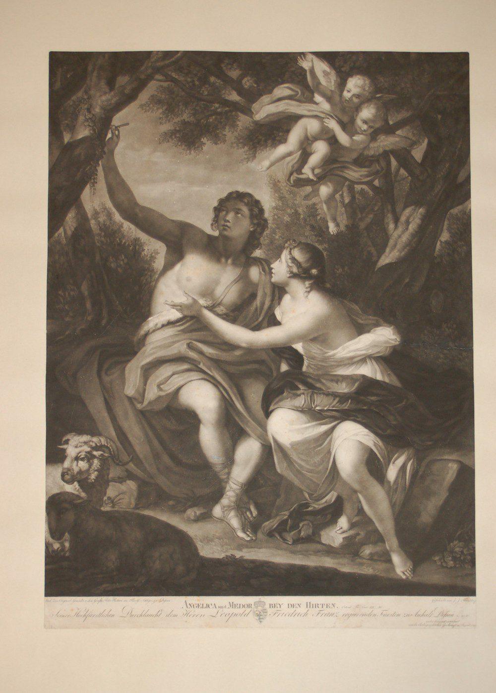Angelica und Medor bei den Hirten, Johann Joseph Freidhoff, 1798 Schabkunst , 68 X 48 cm,