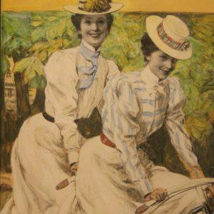 """Paul Rieth (1871-1925) Zwei Mädchen auf dem Fahrrad Entwurf für ein Titelbild der Zeitschrift """"Jugend"""", 1899 Stiftung Sammlung Wulff Lennestadt, Inv. Nr. 0990"""